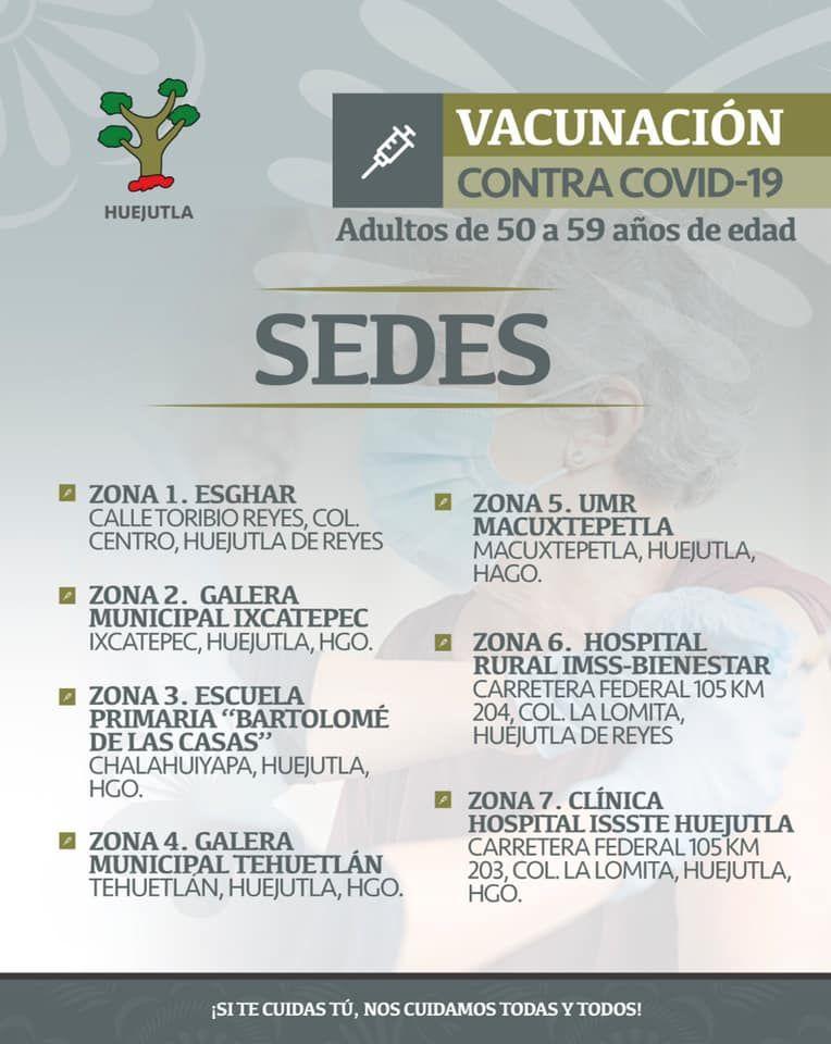 SEDES para Vacunación Contra el COVID-19, Adultos de 50 a 59 Años de Edad